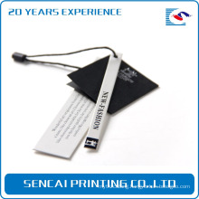 SenCai black and white hanger tag with english label and blake ribbon handle